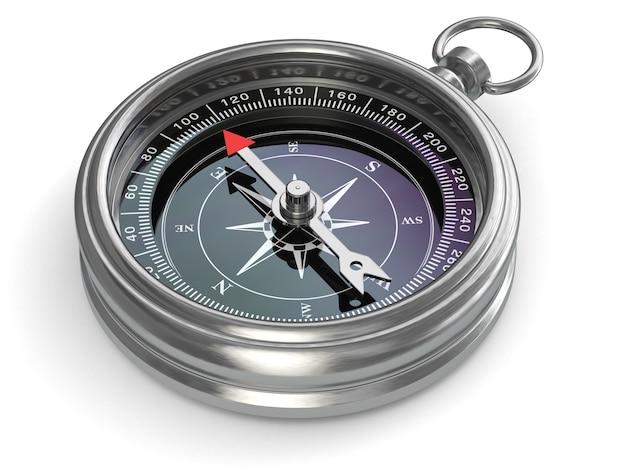 Silberner kompass auf weißem hintergrund isoliert. 3d