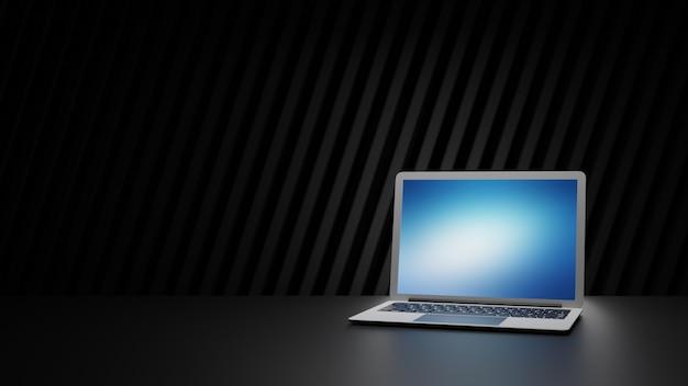 Silberner laptop-computer auf schwarzem tisch und dunklem hintergrund. 3d-illustrationsbild.