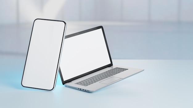 Silberner laptop der leeren 3d-illustration mit smartphone auf blaulichtunschärfe.