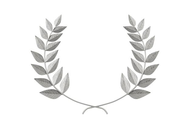 Silberner lorbeerkranz winner award auf weißem hintergrund. 3d-rendering