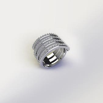 Silberner ring mit diamanten auf weißem hintergrund