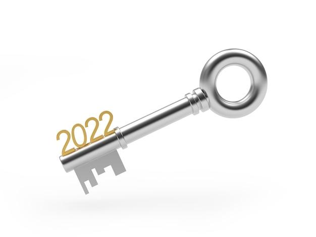 Silberner schlüssel mit neujahrszahl