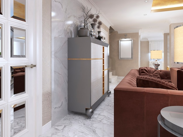Silberner schrank im wohnzimmer art deco. kleiderschrank mit ledereinsätzen in weißen und goldbraunen farben und nischen für die dekoration. 3d-rendering.