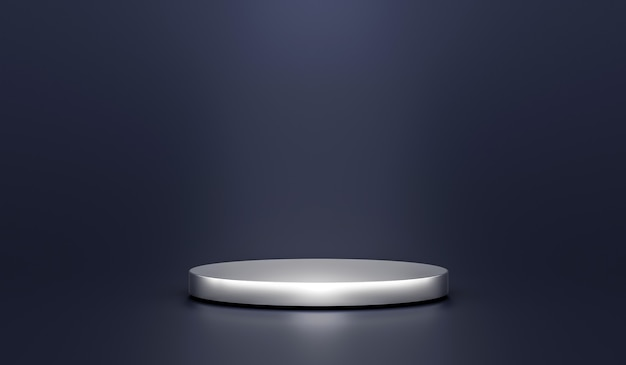 Silberprodukthintergrundständer oder podiumsockel auf werbedisplay mit leeren hintergründen. 3d-rendering.