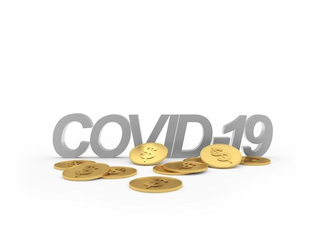 Silbertext covid19 mit dollarmünzen 3d