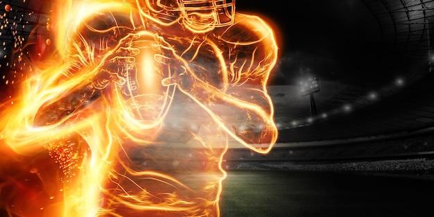 Silhouette eines brennenden amerikanischen fußballspielers