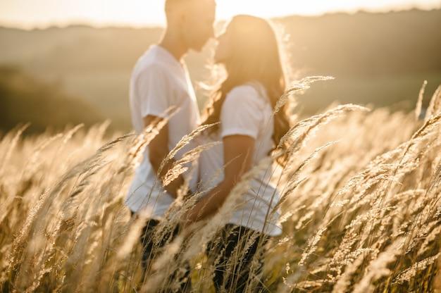 Silhouette junges paar, das im herbst an einem gras im freien über sonnenuntergang umarmt und küsst. mann und frau. konzept der freundlichen familie.