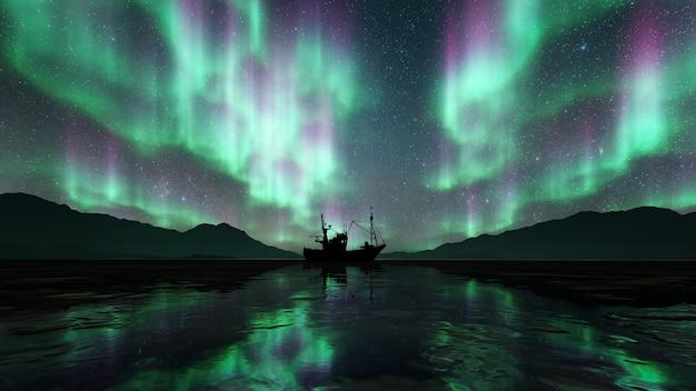 Silhouette schiff mit aurora