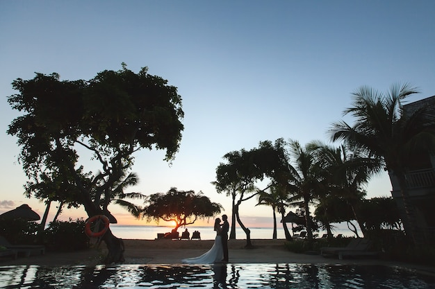 Silhouetten der braut und des bräutigams bei sonnenuntergang. das spiegelbild im pool