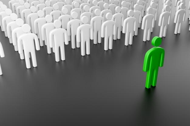Silhouetten von menschen mit einem führer. konzept der gruppenführung, des teams und der teamarbeit. 3d-rendering