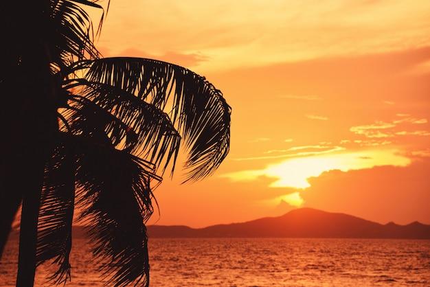 Silhouettieren sie kokosnusspalme-sonnenuntergangozean auf dem orange himmel und den inseln des tropischen strandmeersommers