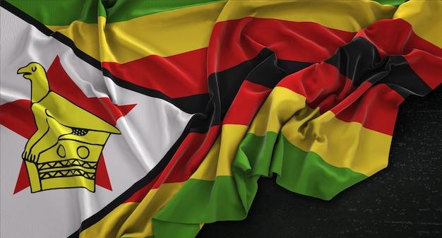 Simbabwe-flagge, die auf dunklem hintergrund gefaltet 3d-render