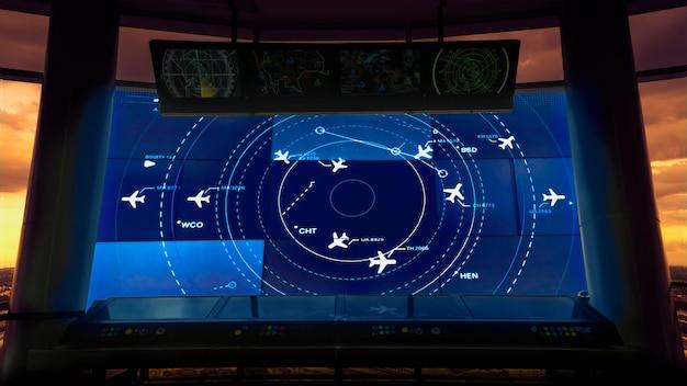Simulationsbildschirm mit verschiedenen flügen für transport und passagiere.
