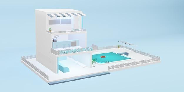 Simuliertes schwimmbad dreistöckiges gebäude cartoon-modell blau pastell 3d-illustration