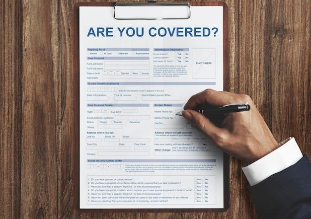 Sind sie versichertes versicherungsantragskonzept?