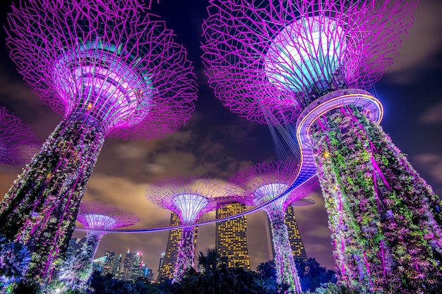 Singapur - 11. februar 2017: singapur-stadtbild bei nacht in singapur.