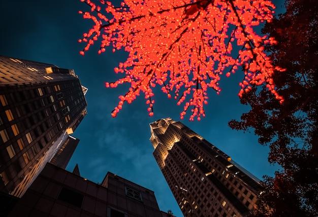 Singapur - 9. dezember 2014: nachtbeleuchtung auf singapur-bäumen. blick auf wolkenkratzer in singapur. singapur ist das viertgrößte finanzzentrum der welt.