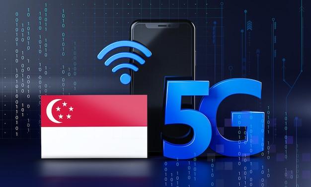 Singapur bereit für 5g-verbindungskonzept. hintergrund der 3d-rendering-smartphone-technologie