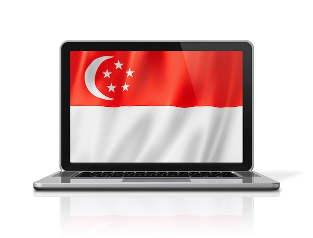 Singapur-flagge auf dem laptopbildschirm lokalisiert auf weiß. 3d-darstellung rendern.