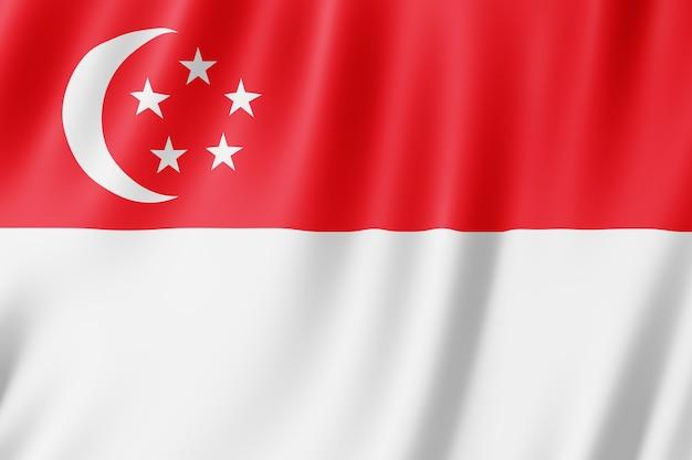 Singapur-flagge weht im wind.