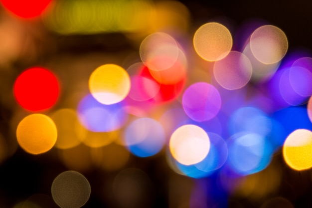 Singapur-stadtnacht beleuchtet bokeh unscharfen hintergrund