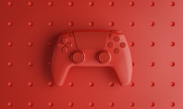 Single red joystick hintergrund 3d-rendering