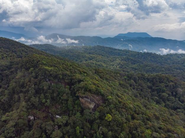 Sinharaja regenwald naturschutzgebiet sri lanka luftbild bei sonnenuntergang berge dschungel alten wald