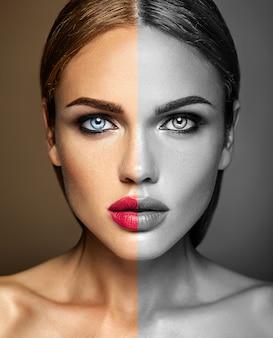 Sinnliches zauberportrait der vorbildlichen dame der schönen frau mit neuem täglichem verfassung mit den roten lippen. eine seite des gesichts ist schwarz und weiß