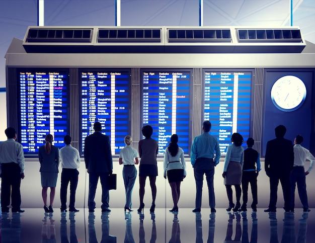 Sitzenflugplanfahrt des silhouetteberufs beruf