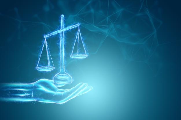 Skalen des gerechtigkeitshologramms auf blauem hintergrund. urteilskonzept, gericht, justiz. 3d-rendering, 3d-darstellung.