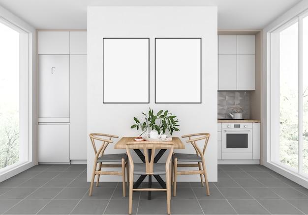 Skandinavische küche mit leeren doppelrahmen, grafikbildschirmanzeige