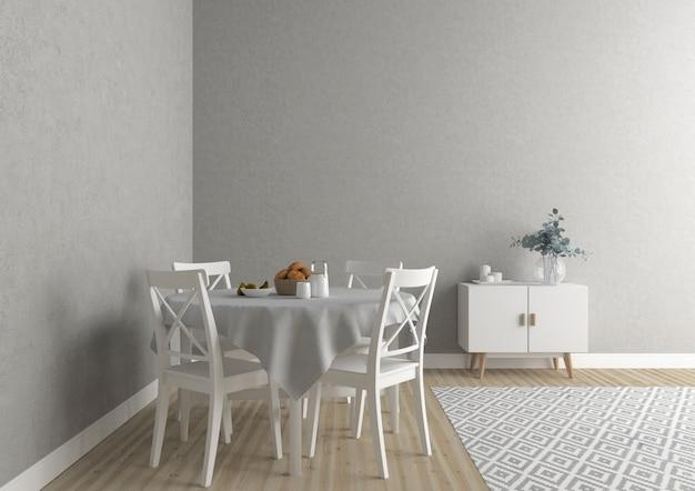 Skandinavische küche mit leerer wand