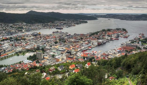 Skandinavische stadterkundung an einem bewölkten tag in der sommerzeit