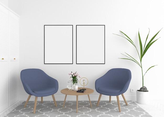 Skandinavischer innenwarteraum mit leerem leerem fotorahmen oder grafikrahmen