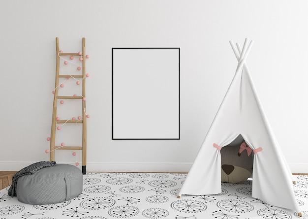 Skandinavischer kinderzimmerraum mit vertikalem rahmen