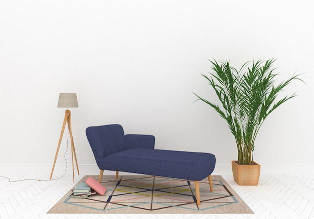 Skandinavischer loungebereich mit leerer wand