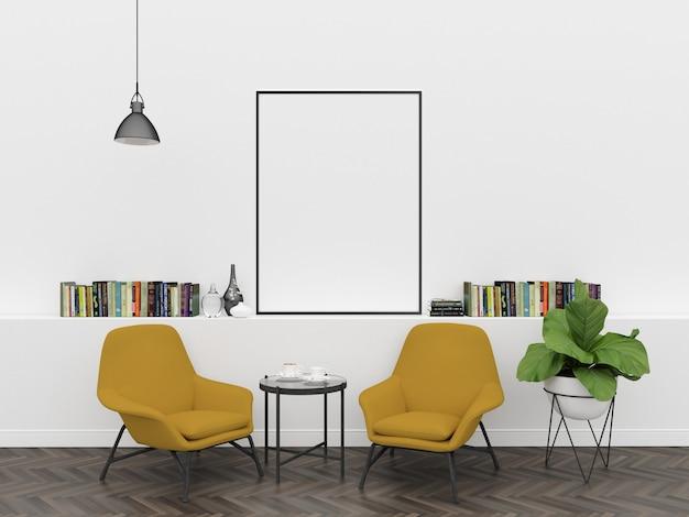 Skandinavisches interieur - vertikaler rahmen mockup