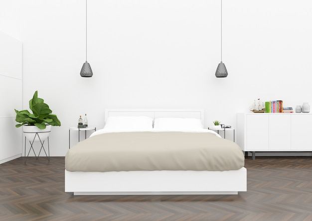 Skandinavisches schlafzimmer - leere wand