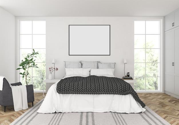 Skandinavisches schlafzimmer mit leerem horizontalem rahmen