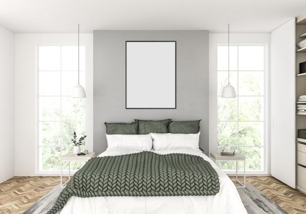Skandinavisches schlafzimmer mit leerem vertikalem rahmen
