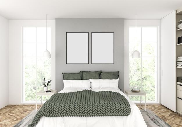 Skandinavisches schlafzimmer mit leeren doppelten feldern