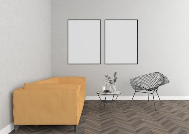 Skandinavisches wohnzimmer mit leeren doppelten feldern