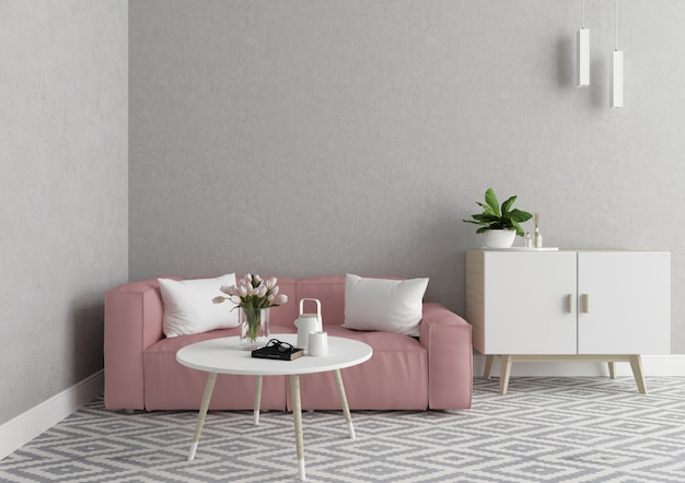 Skandinavisches wohnzimmer mit unbelegter wand