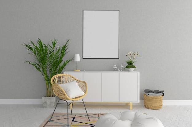 Skandinavisches wohnzimmerinnenmodell