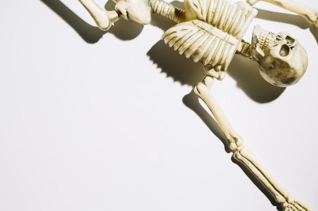 Skelett, das auf zurück mit den angehobenen händen liegt