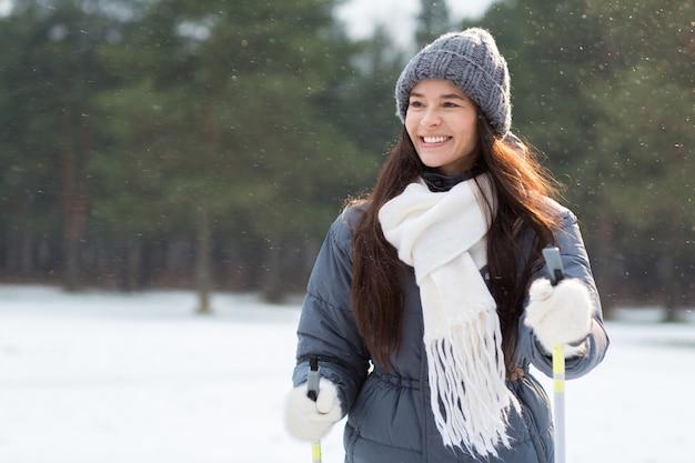 Skifahren bei schneefall