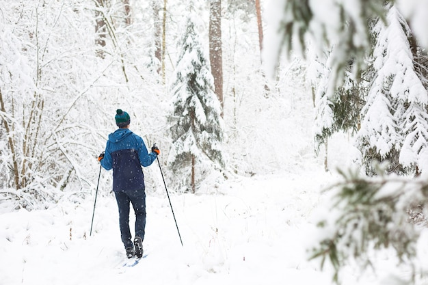 Skifahrer im hut mit pompon mit skistöcken in einem verschneiten wald. skilanglauf