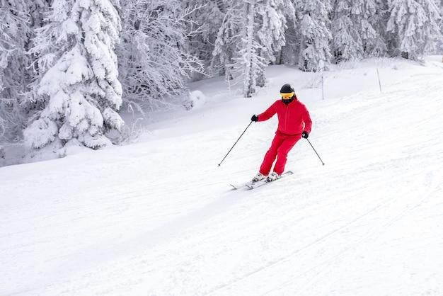 Skifahrer in einem roten kostüm, das den hang nahe den bäumen hinunter fährt