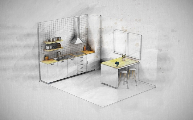 Skizze illustration des kücheninnenprojektprojekts