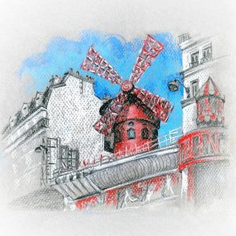 Skizze von moulin rouge in paris, frankreich